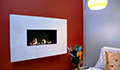 caminetto a gas con cornice in pietra - Fireline Moderno Wide Madreperla